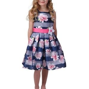 Jona Michelle Girls Striped Special Occasion Dress